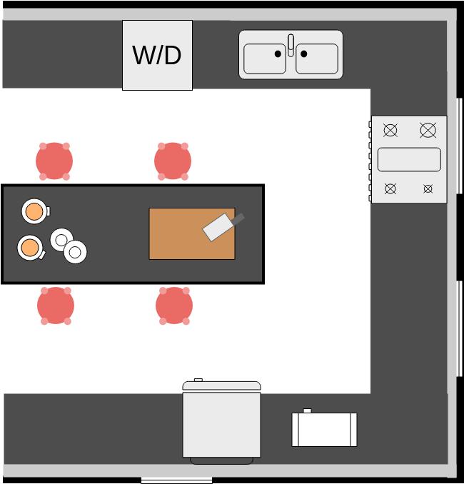 Kitchen Floor Plan template: Kitchen with Center Island (Created by Diagrams's Kitchen Floor Plan maker)