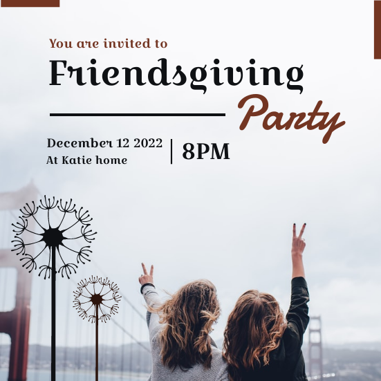 Invitation template: Minimal Black Friendsgiving Invitation (Created by InfoART's Invitation marker)