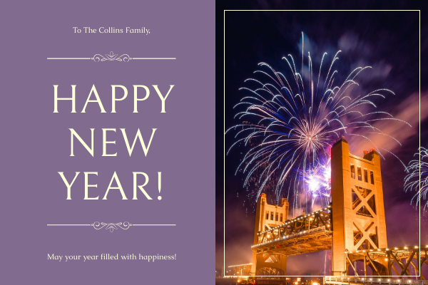 Greeting Card template: Violet Firework photo 2021 New Year Greeting Card (Created by InfoART's Greeting Card maker)