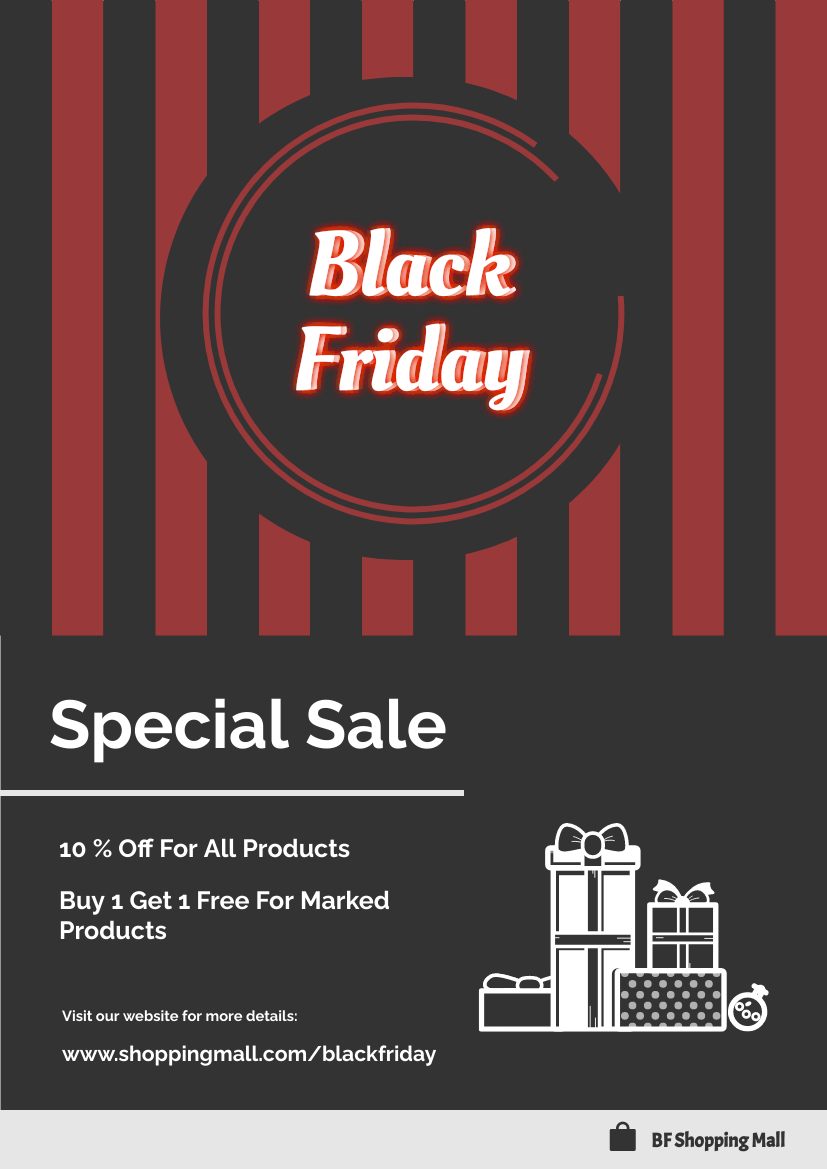 Flyer template: Black And Red Black Friday Flyer (Created by InfoART's Flyer maker)