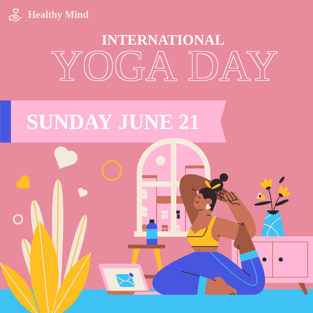 Instagram Post template: Pink International Yoga Day Instagram Post (Created by InfoART's Instagram Post maker)