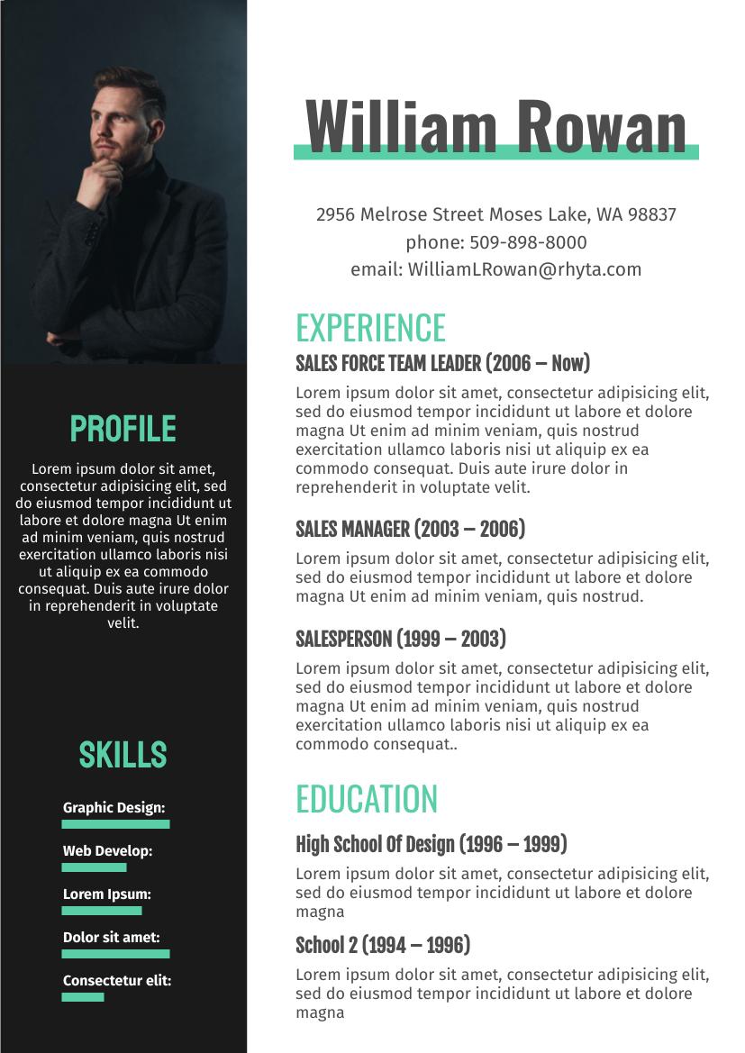 Resume template: Green Resume 2 (Created by InfoART's Resume maker)