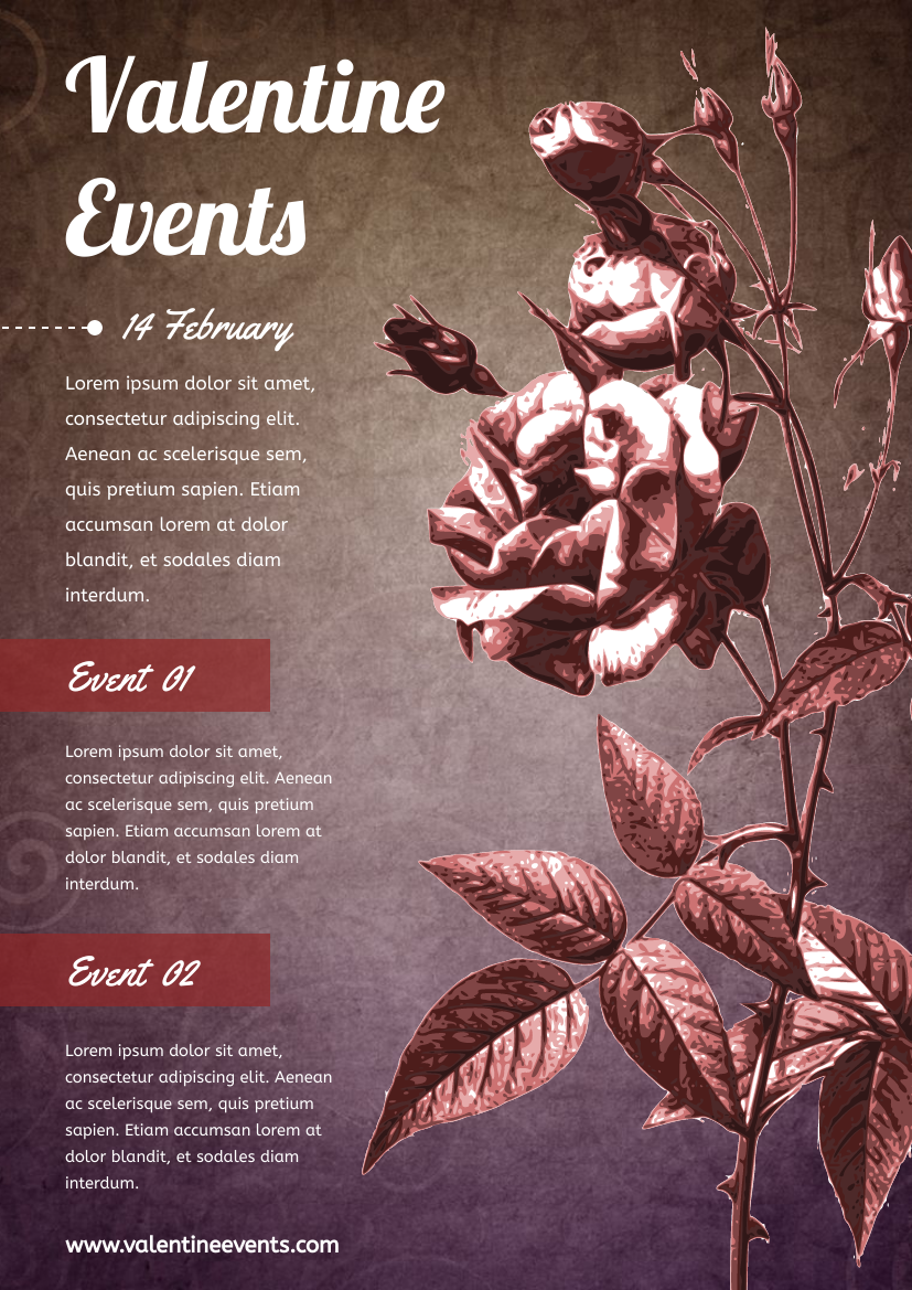 Flyer template: Vintage Valentine Event Flyer With Details (Created by InfoART's Flyer maker)