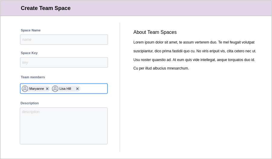 Create Team Space (Atlassian Wireframe Example)