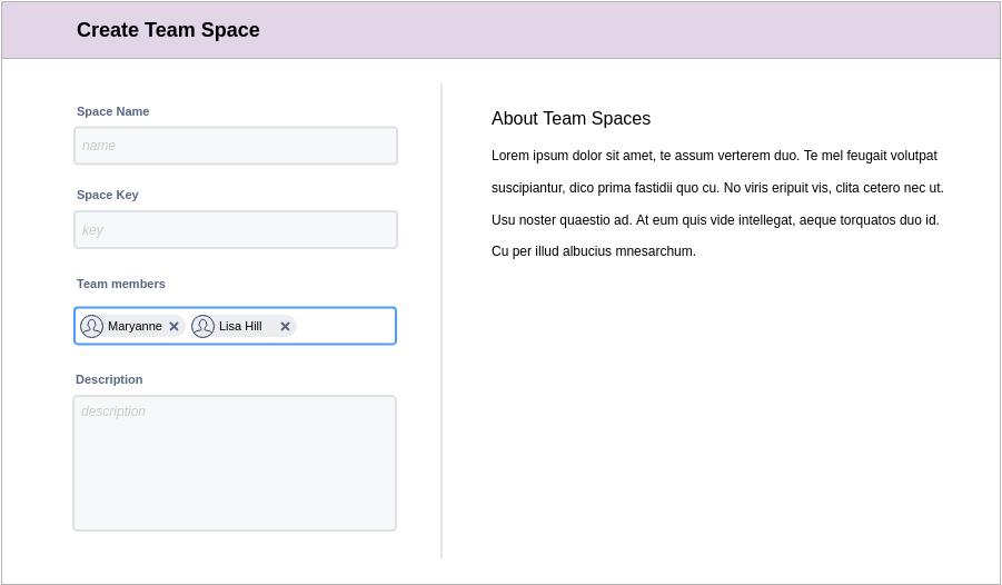 Atlassian Wireframe template: Create Team Space (Created by Diagrams's Atlassian Wireframe maker)