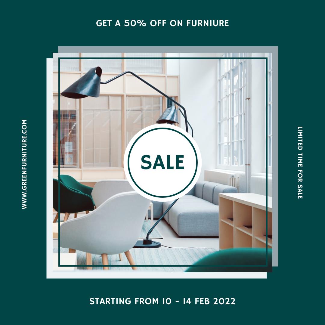 Instagram Post template: Green Furniture Photo Furniture Sale Instagram Post (Created by InfoART's Instagram Post maker)