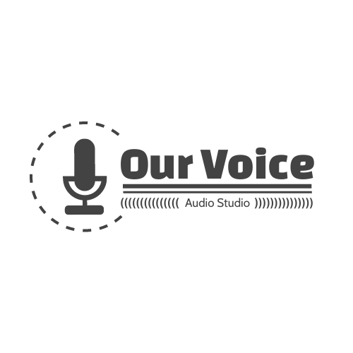 Logo template: Monochrome Audio Studio Logo Created With Graphic Of microphone (Created by InfoART's Logo maker)