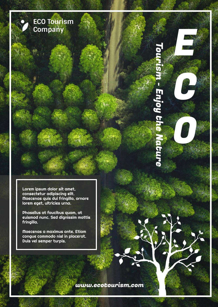 Flyer template: Green And White ECO Tourism Flyer (Created by InfoART's Flyer maker)