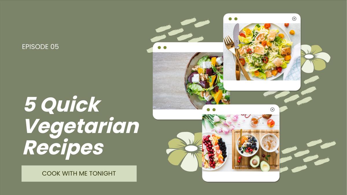 YouTube Thumbnail template: Quick Vegetarian Recipes YouTube Thumbnail (Created by Collage's YouTube Thumbnail maker)