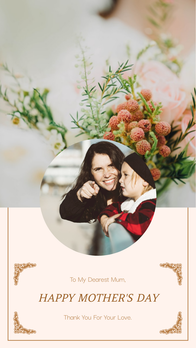 Instagram Story template: Orange Floral Photo Circle Mother's Day Instagram Story (Created by InfoART's Instagram Story maker)