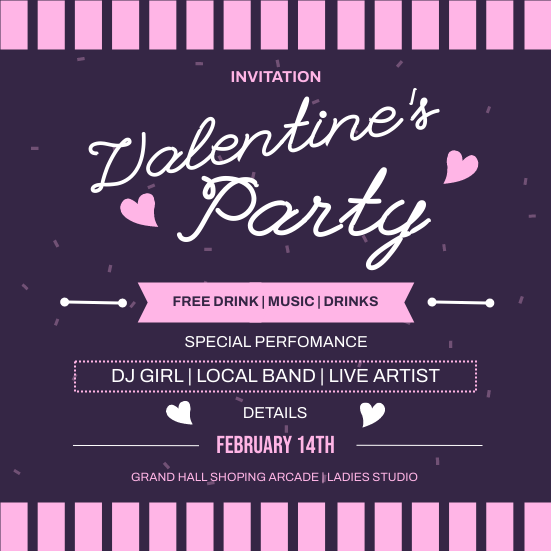 Invitation template: Pink Valentine Party Invitation (Created by InfoART's Invitation maker)