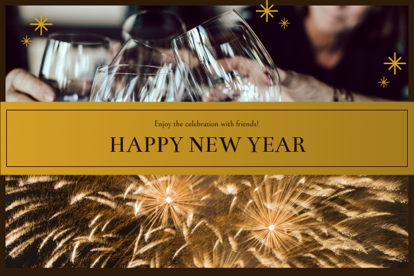 Greeting Card template: Gold And Brown New Year Celebration Greeting Card (Created by InfoART's Greeting Card maker)