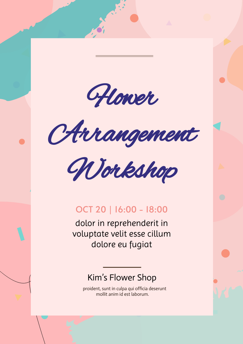 Flyer template: Flower Arrangement Workshop (Created by InfoART's Flyer maker)