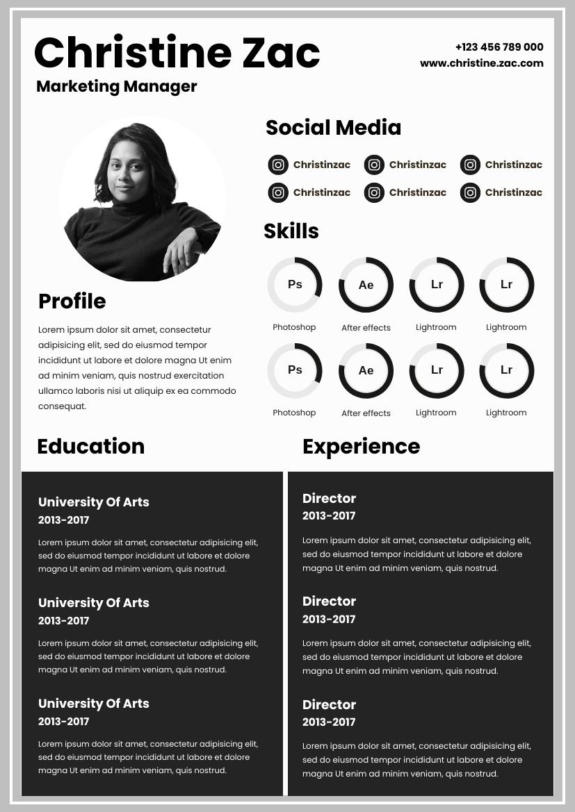 Resume template: Grey Tone Resume (Created by InfoART's Resume maker)