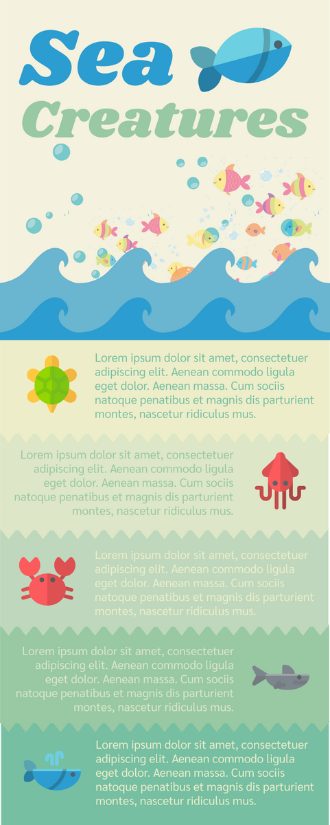 Infographic template: Sea Creatures (Created by InfoART's Infographic maker)