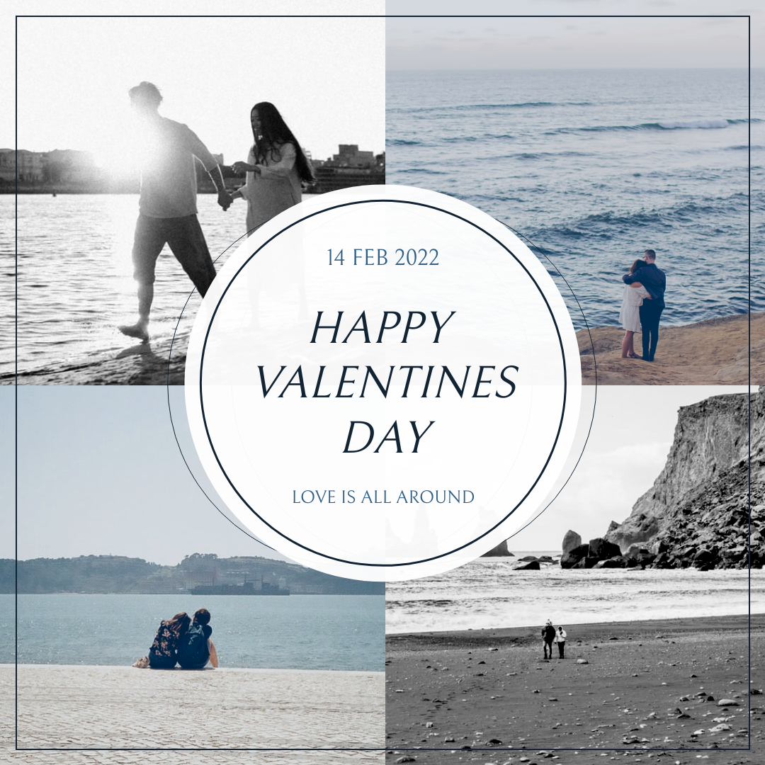 Instagram Post template: Blue And Grey Photo Grid Valentines Day Instagram Post (Created by InfoART's Instagram Post maker)