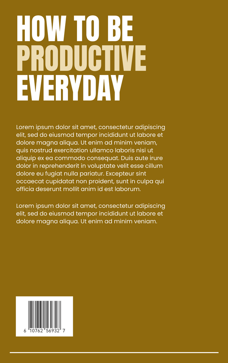 Book Cover template: How To Be Productive Everyday Book Cover (Created by InfoART's Book Cover maker)