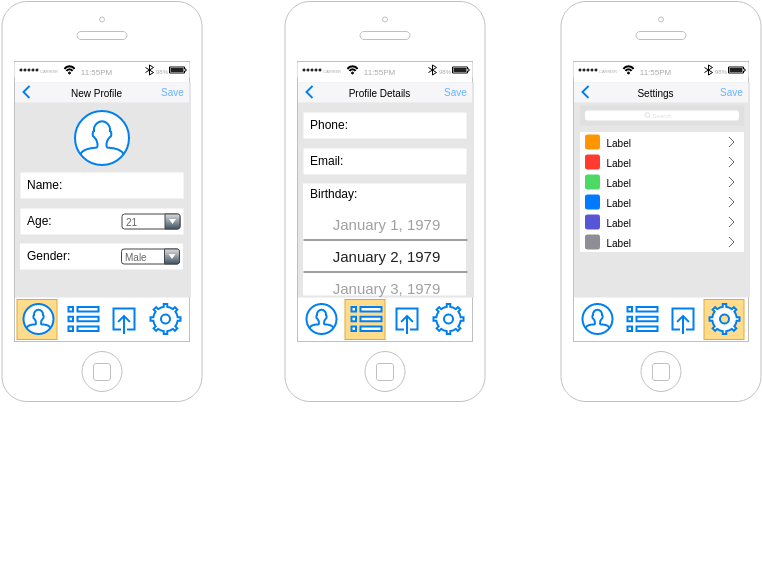 IOS Wireframe template: User Profile (Created by Diagrams's IOS Wireframe maker)