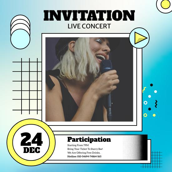 Invitation template: Retro Live Concert Invitation (Created by InfoART's Invitation maker)