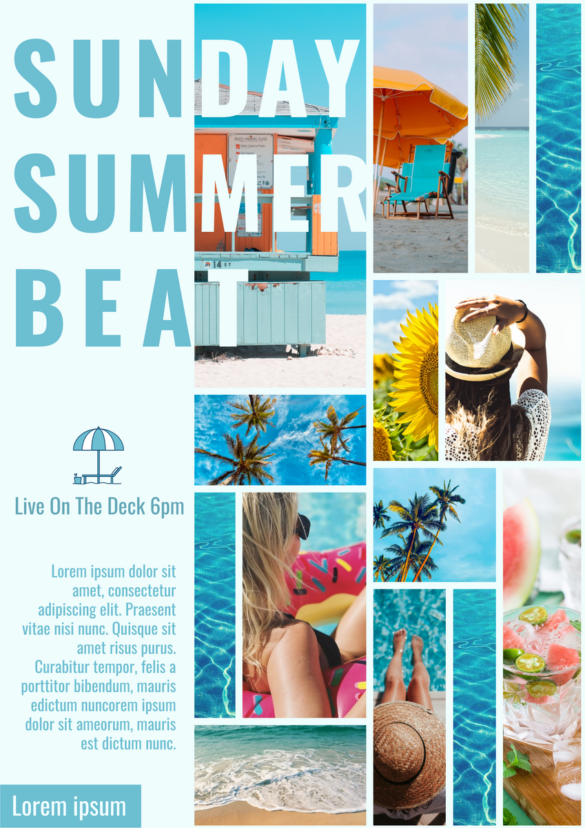 Poster template: Sunday Summer Beat Poster (Created by Collage's Poster maker)
