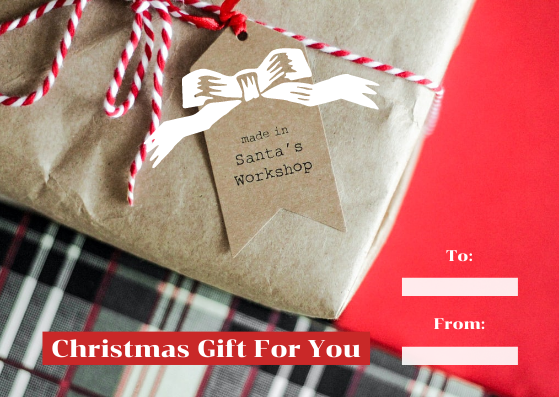 Gift Card template: Sharp Red With Bow Christmas Gift Card (Created by InfoART's Gift Card maker)