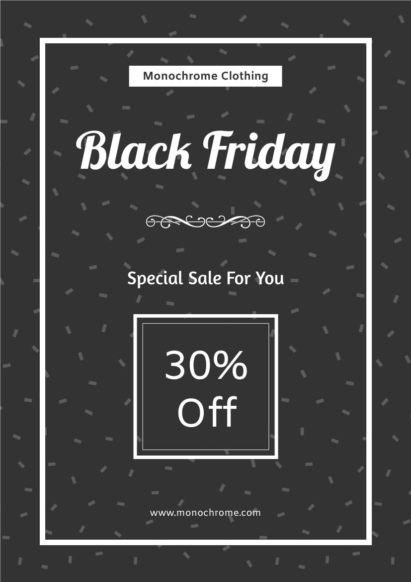 Flyer template: Black Friday Monochrome Sale Flyer (Created by InfoART's Flyer maker)