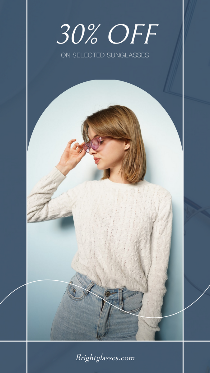Instagram Story template: Blue Woman Photo Sunglasses Sale Instagram Story (Created by InfoART's Instagram Story maker)