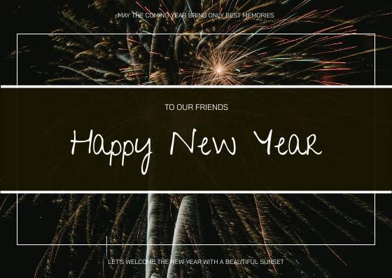 Postcard template: Black Fireworks Photo Happy New Year Postcard (Created by InfoART's Postcard maker)