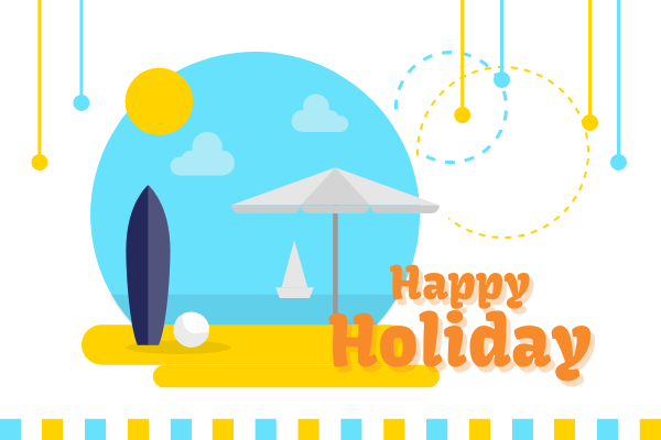 Greeting Card template: Colourful Happy Holiday Beach Greeting Card (Created by InfoART's Greeting Card maker)