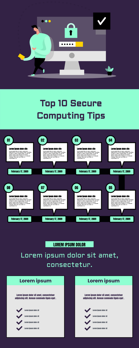 Infographic template: Top 10 Secure Computing Tips Infographic (Created by InfoART's Infographic maker)