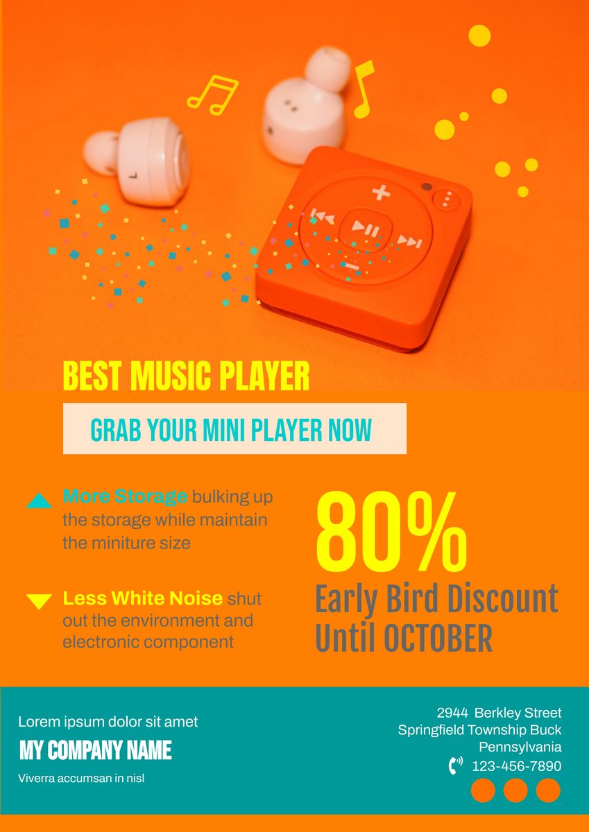 Poster template: Music Player Sale Poster (Created by InfoART's Poster maker)