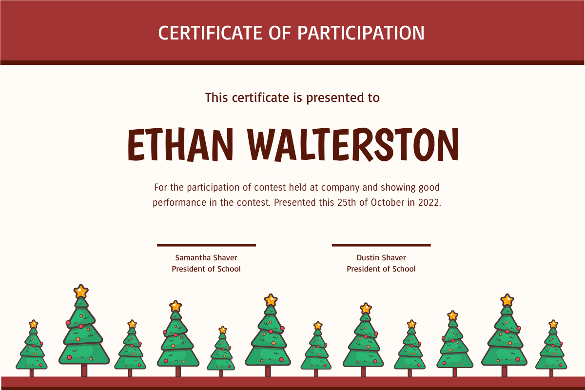 Certificate template: Cute Christmas Trees In Red Certificate (Created by InfoART's Certificate maker)