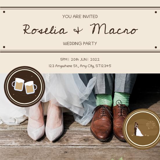 Invitation template: Brown Wood Texture Wedding Photo Wedding Invitation (Created by InfoART's Invitation maker)