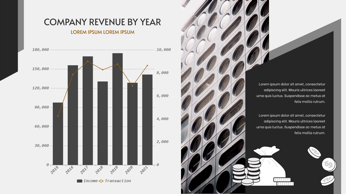 Column and Line Chart template: Company Revenue By Year Column and Line Chart (Created by Chart's Column and Line Chart maker)