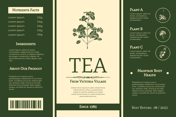 Label template: Tea Label With Details (Created by InfoART's Label maker)