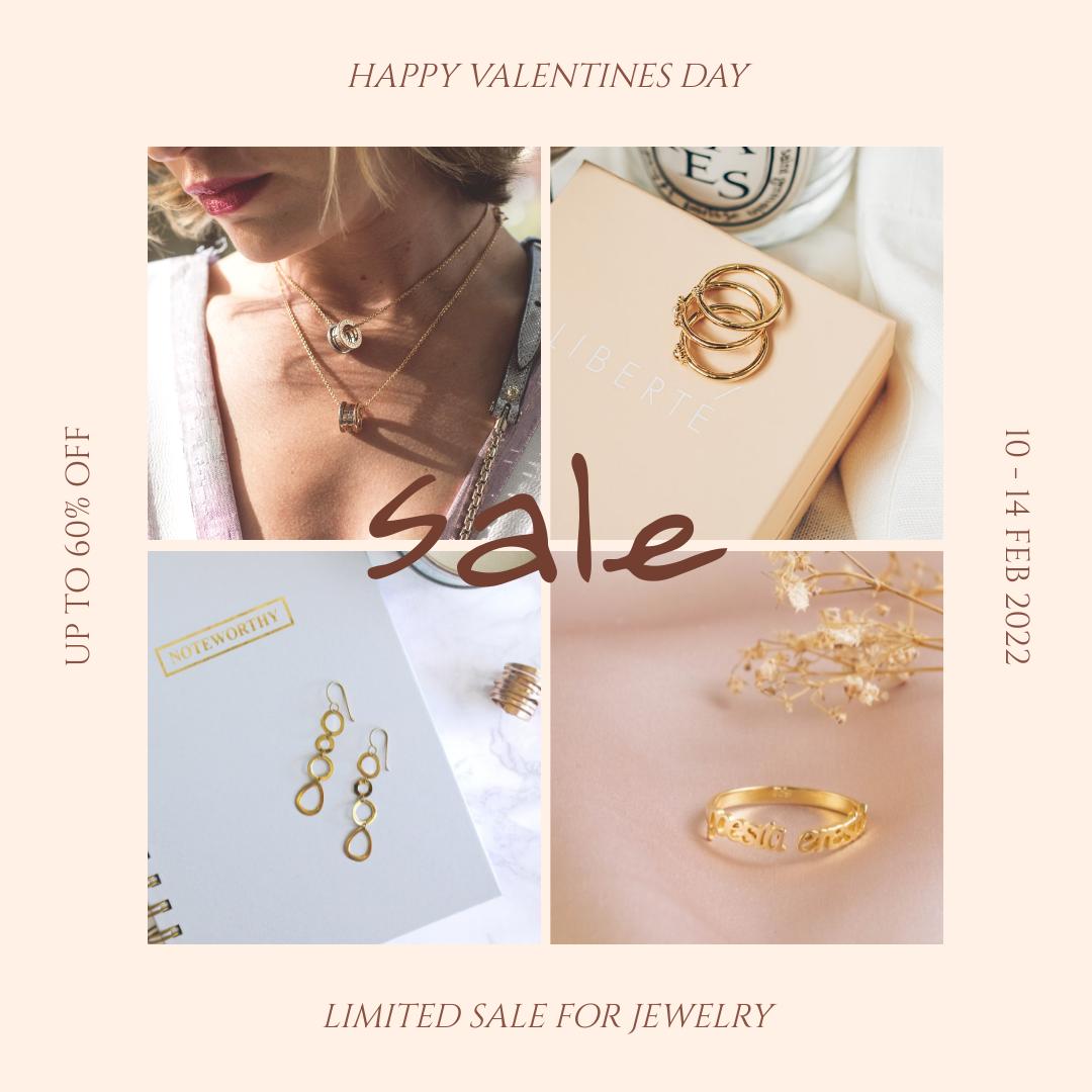 Instagram Post template: Pink Elegant Jewelry Sale Valentines Day Instagram Post (Created by InfoART's Instagram Post maker)