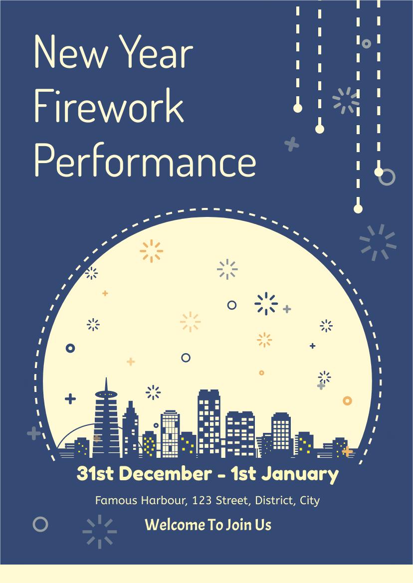 Flyer template: New Year Firework Performance Flyer (Created by InfoART's Flyer maker)