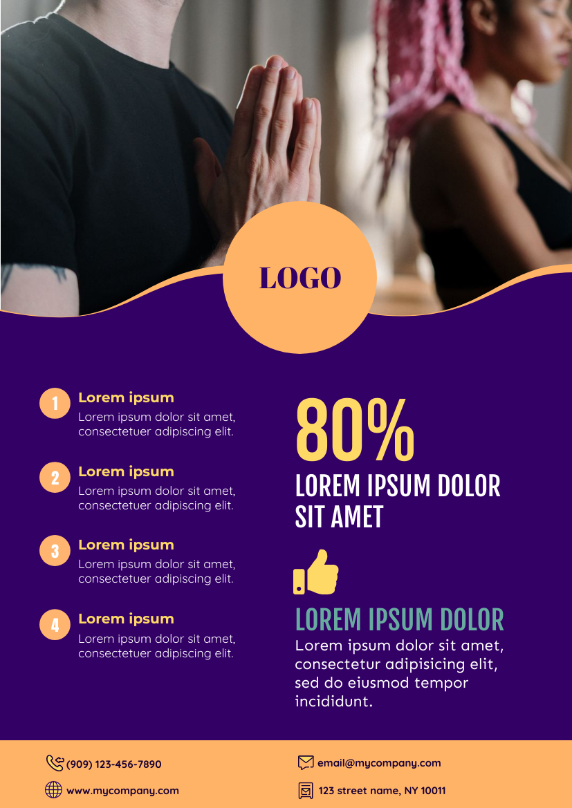Flyer template: Yoga Learning Flyer (Created by InfoART's Flyer maker)