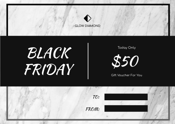 Gift Card template: Grey Marble Photo Black Friday Gift Card (Created by InfoART's Gift Card maker)