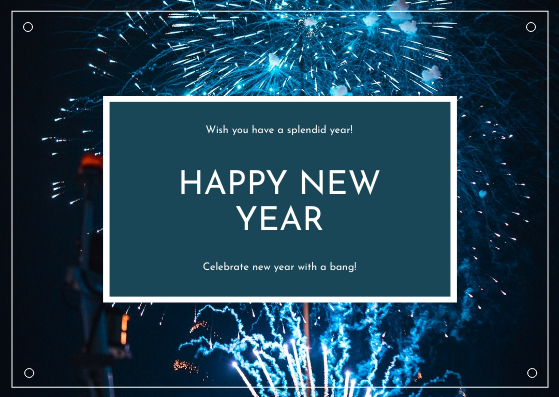 Postcard template: Blue Fireworks Background New Year Postcard (Created by InfoART's Postcard maker)