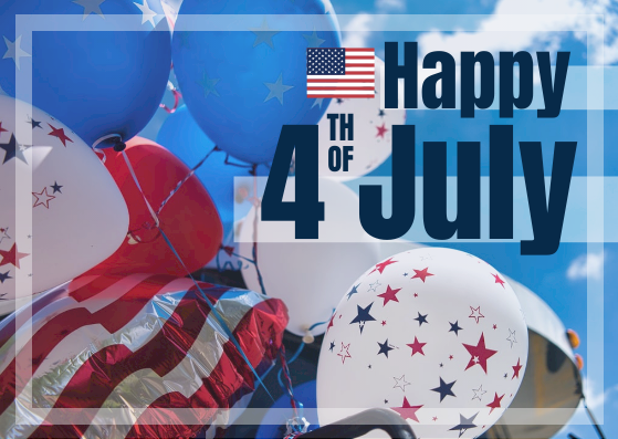 Postcard template: Photo Happy Fourth of July Postcard (Created by InfoART's Postcard maker)