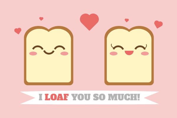 Greeting Card template: Bread Valentine's Day Card (Created by InfoART's Greeting Card maker)