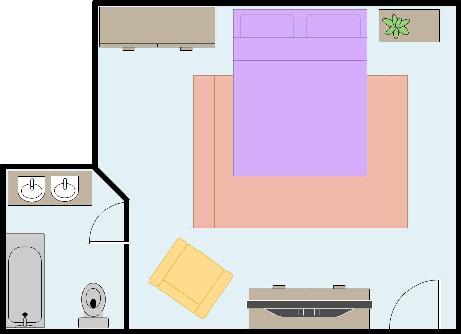 Bedroom Floor Plan template: Master Bedroom (Created by Diagrams's Bedroom Floor Plan maker)