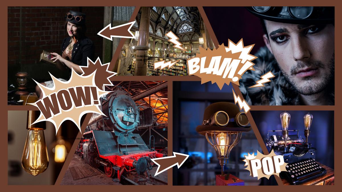 Comic Strip template: Steampunk Comic Strip (Created by Collage's Comic Strip maker)