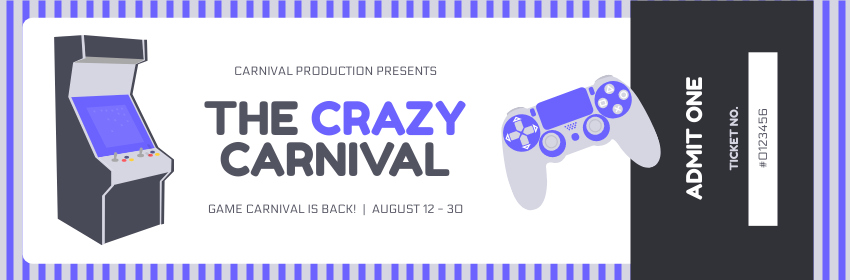 Ticket template: Game Carnival Event Ticket (Created by InfoART's Ticket maker)