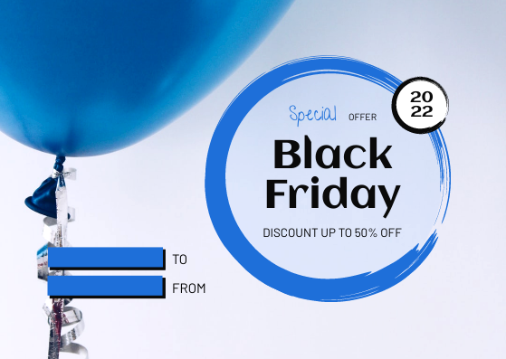 Gift Card template: Blue Circle Black Friday Sale Gift Card (Created by InfoART's Gift Card maker)