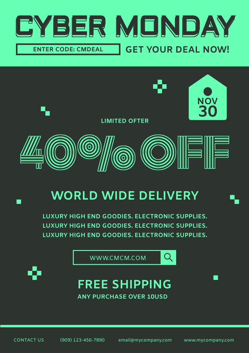Flyer template: Cyber Monday Discount Deal Flyer (Created by InfoART's Flyer maker)
