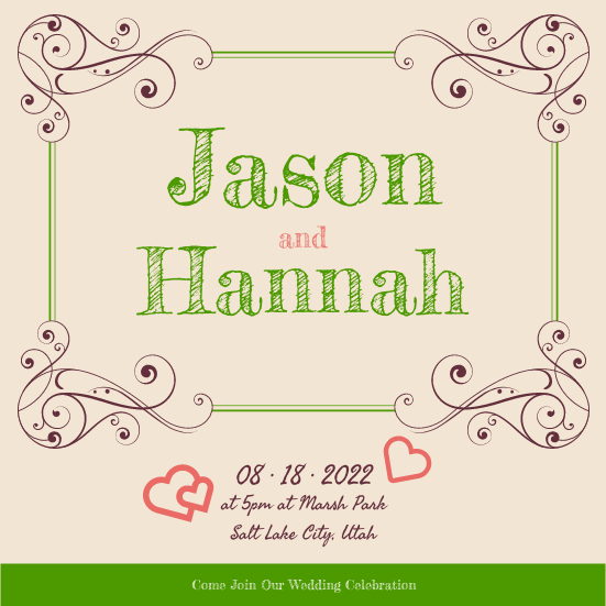 Invitation template: Wedding Invitation (Created by InfoART's Invitation marker)