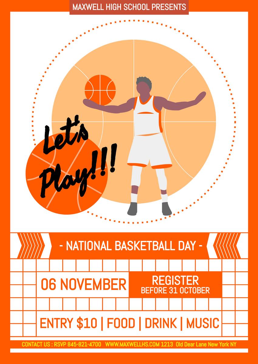 Poster template: National Basketball Day Game Poster (Created by InfoART's Poster maker)