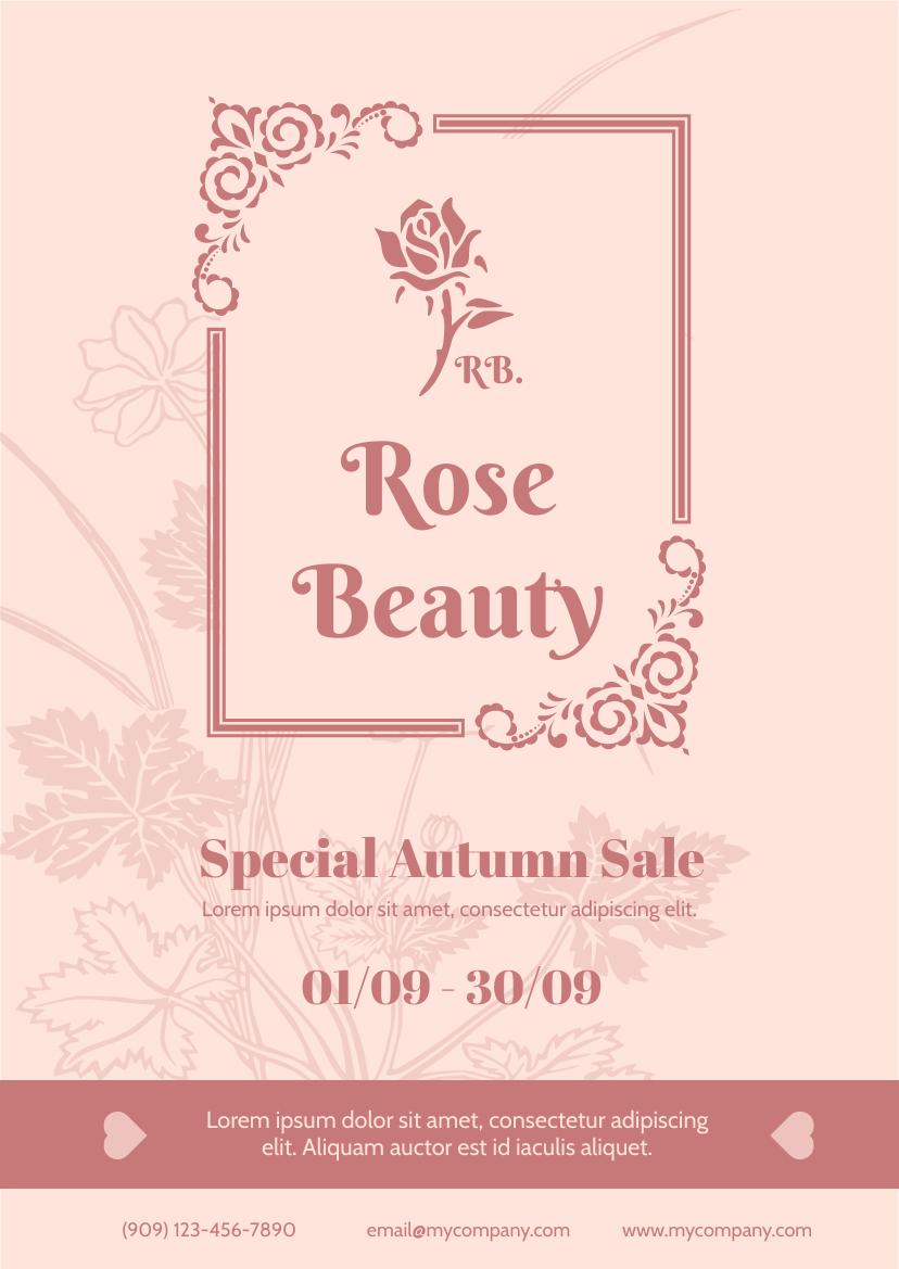 Flyer template: Beauty Company Autumn Sale Flyer (Created by InfoART's Flyer maker)